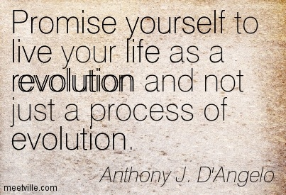 Promise yourself to live your life as a revolution and not just a process of evolution.