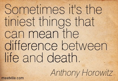 Sometimes it's the tiniest things that can mean the difference between life and death.