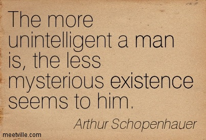 The more unintelligent a man is, the less mysterious existence seems to him