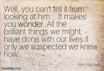 Well, you can't tell it from looking at him….It makes you wonder. All the brilliant things we might have done with our lives if only we suspected we knew how.  - Ann Patchett