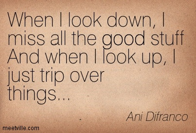 When I look down, I miss all the good stuff And when I look up, I just trip over things…- Ani Difranco