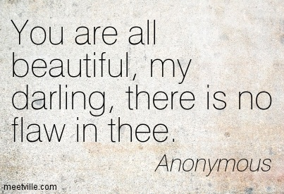 You are all beautiful, my darling, there is no flaw in thee.