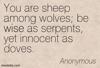 You are sheep among wolves; be wise as serpents, yet innocent as doves.