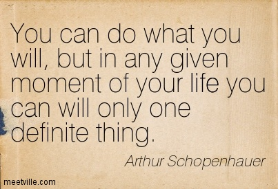 You can do what you will, but in any given moment of your life you can will only one definite thing.