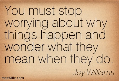 You must stop worrying about why things happen and wonder what they mean when they d