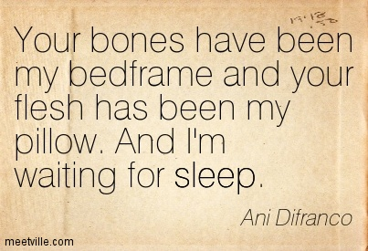 Your bones have been my bedframe and your flesh has been my pillow. And I'm waiting for sleep.- Ani Difranco