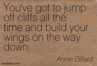 You've got to jump off cliffs all the time and build your wings on the way down.
