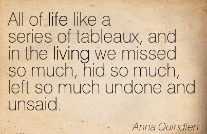 All of life like a series of tableaux, and in the living we missed so much, hid so much, left so much undone and unsaid.  - Anna Quindlen