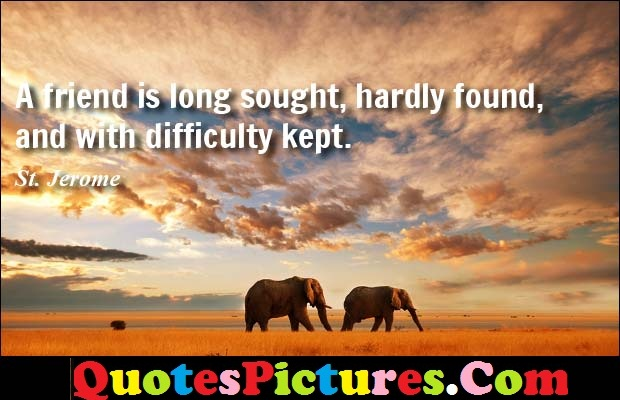 Amazing Ideal Quote - A Friend Is Long Sought, Hardly Found, And With Difficulty Kept. - St. Jerome