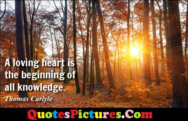 Amazing Knowledge Quote - A Loving Heart Is The Beiginning Of All Knowledge. - Thomas Carlyle