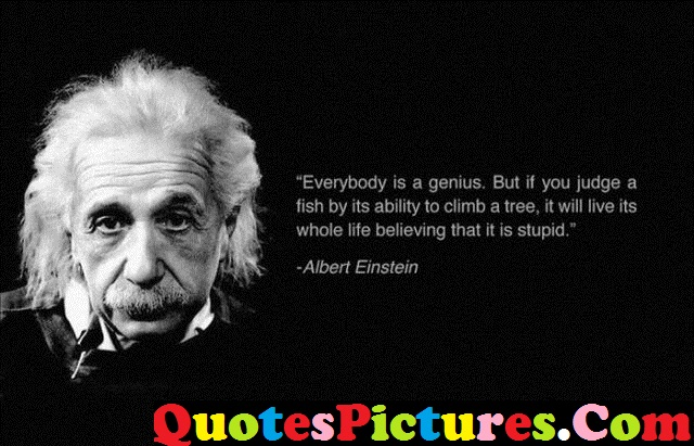 Amazing Life Quote - Everybody Is A Genius By Albert Einstein