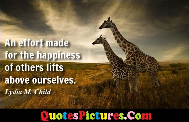 Amazing Logic Quote - An Effort Made For The Happiness Of Others Lifts Above Ourselves. - Lydia M. Child