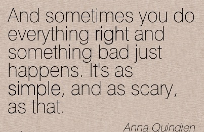 And sometimes you do everything right and something bad just happens. It's as simple, and as scary, as that.  - Anna Quindlen