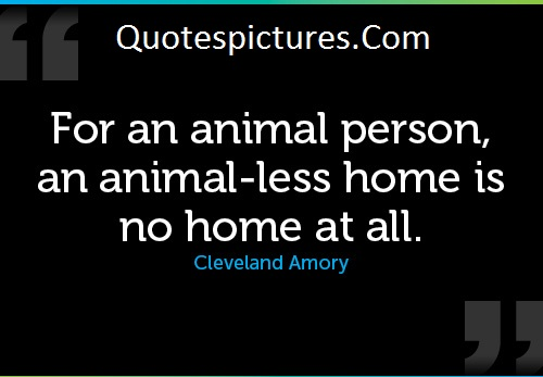Animal Quotes - An Animal Less Home Is No Home At All By Cleveland Amory