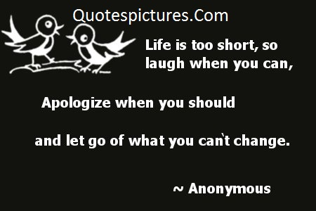 Apology Quotes - Life Is Too Short So Laugh When You Can Apologize