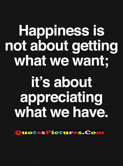 appreciating happiness