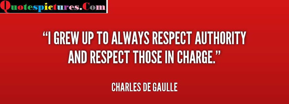 Authority Quotes - I Grew Up To Always Respect Authority By Charles De Gaulle