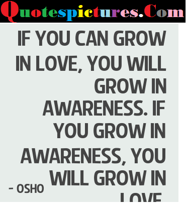 Awareness Quotes - You Grow In Awareness, You Will Grow Love By Osho