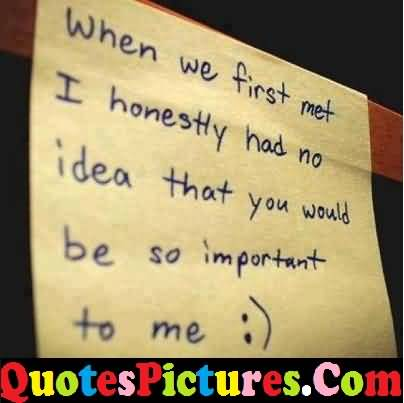 Awesome Love Quote - I Honestly Had No Idea That You Would Be So Important To Me