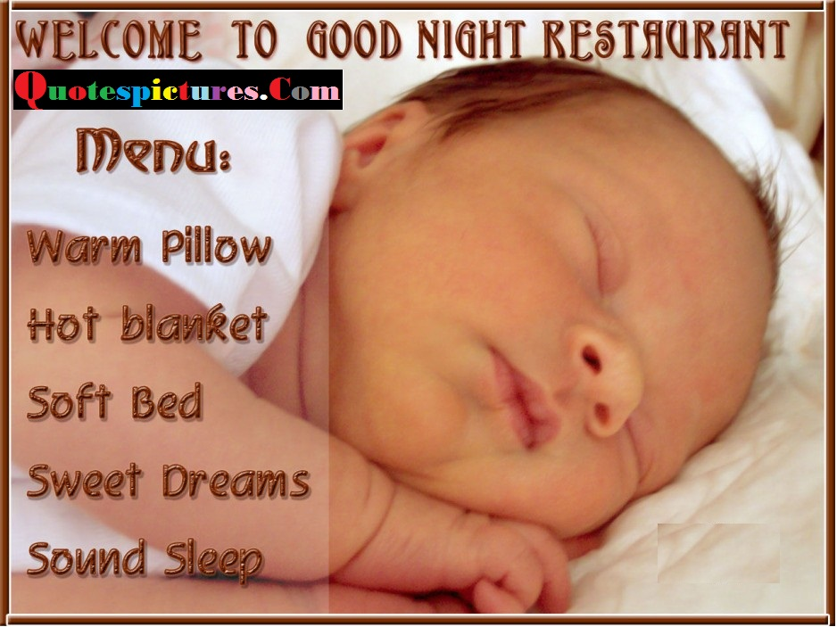 Baby Quotes - Menu Of Good Night Restaurant
