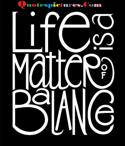 Balance Quotes  - Life Is A Matter Of Balance