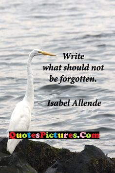 Beautiful Water Quote - Write What Should Not Be Forgotten. - Isabel Allende