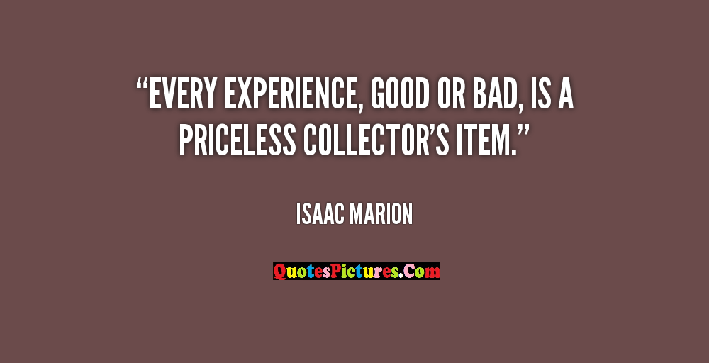 Best Experience Quote - Every Experience Good Or Bad Is Am Priceless Collector's Item. - Isaac Marion