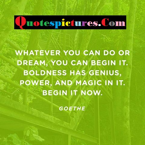Boldnesss Quotes - Whatever You Can Do Or Dream, You Can Begin It By Goethe