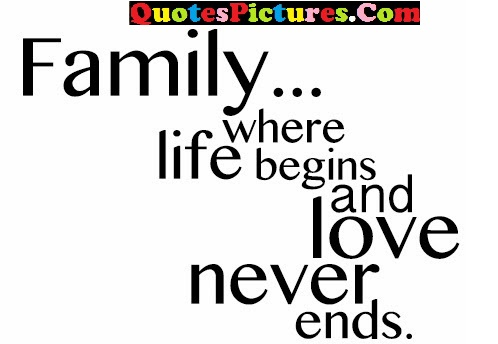 Brillient Family Quote - Family…. Where Life Begins And Love Never Ends.