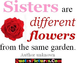 Brillient Flowers Quote - Sisters Are Different Flowers From The Same Garden.