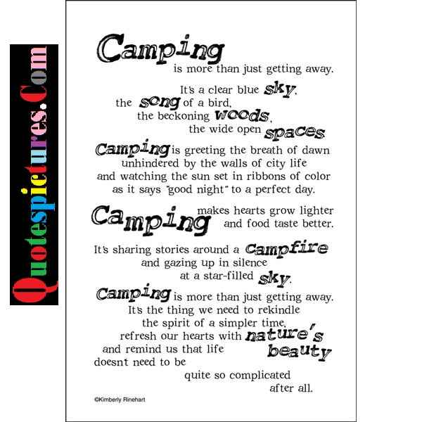 Camping Quotes - Camoing Is More Than Just Getting Away