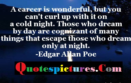 Carrer Quotes -  A Carrer Is Wonderful But You Can Not Curl Up With It On By Edgar Allan Poe