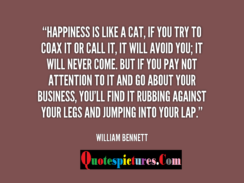 Cat Quotes - Happiness Is Like A Cat If You Try To Coax It Or Call It By William Bennett