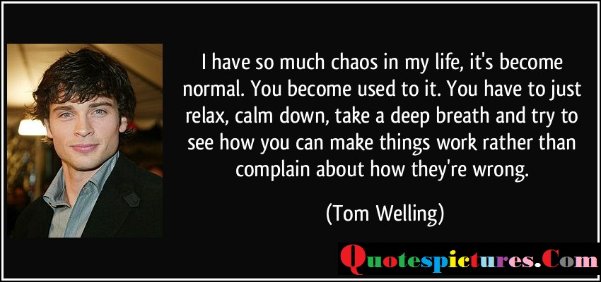 Chaos Quotes - I have So Much Chaos In My Life Its Become Normal By Tom Welling