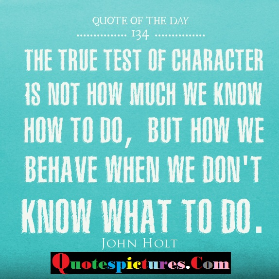 Character Quotes - The True Of Character Is Not How Much We Know How To Do By John Holt