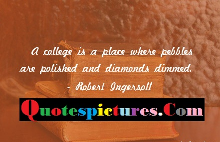 College Quotes - A College Is A Place Where Are Polished And Diamonds Dimmed by Robert Ingerso