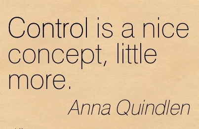Control is a nice concept, little more.  - Anna Quindlen