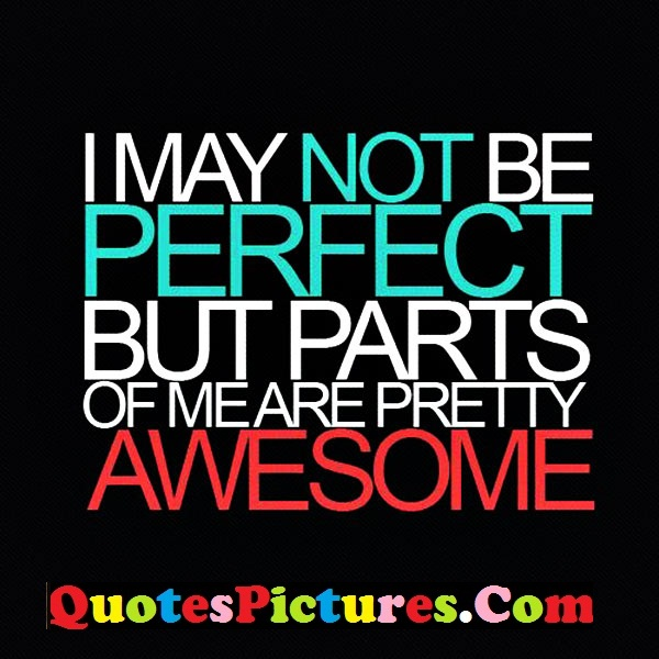 Fabulous Confidence Quotes - I May Not Be Perfect But Parts Of Me Are Prertty Awesome
