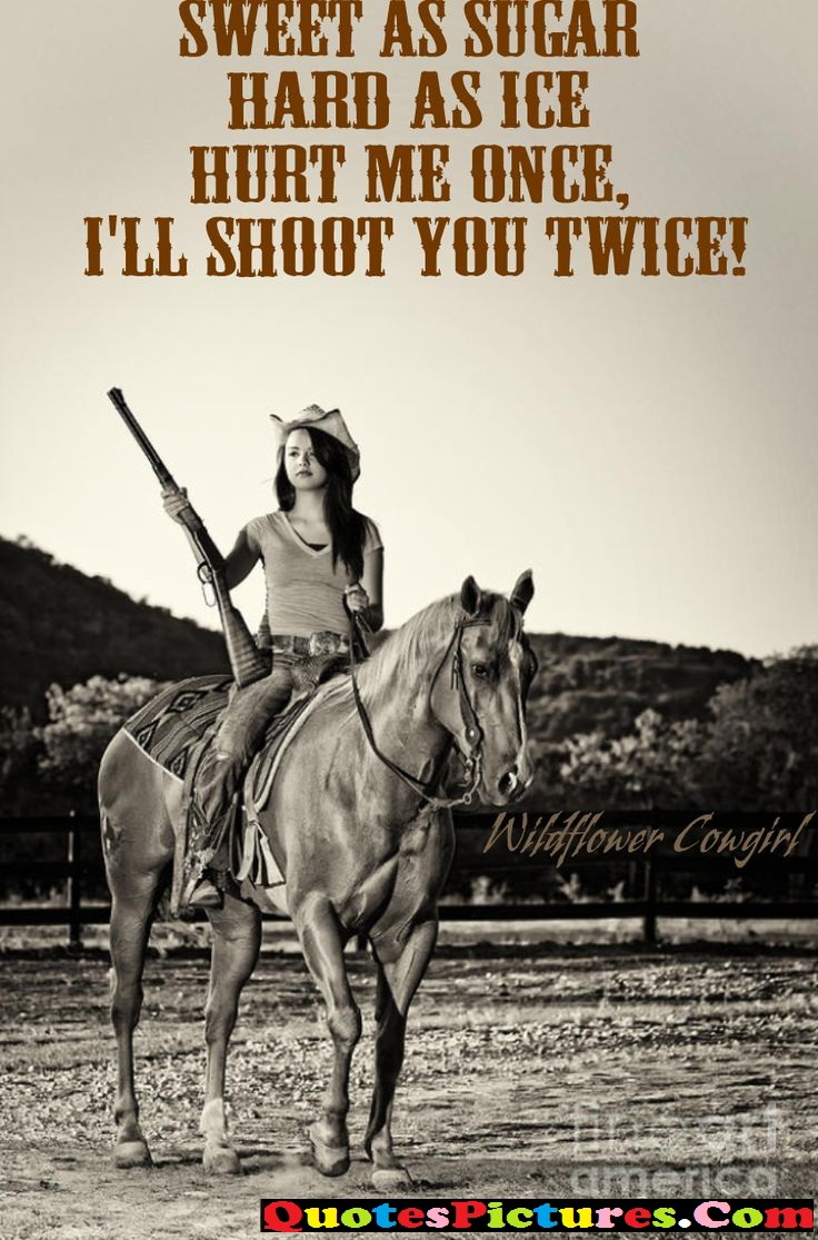 Fabulous Cowboy Quote - Sweet As Sugar Hard As Ice Hurt me Once, I'll Shootr You Twice !