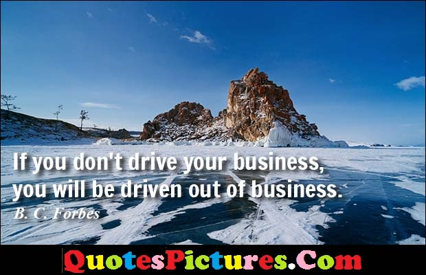 Fabulous Driving Quote - If You Don't Drive Your Business You Will be Driven Out OF Business.