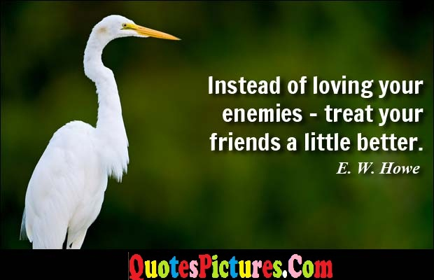 Fabulous Enemy Quote - Instead Of Loving Your Enemies - treat Your Friends A Little better. - E.w. Howe
