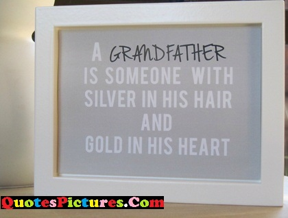 Fabulous Grandfather Quote - A Grandfather Is Someone With Silver In His Hair And Gold in His Heart.