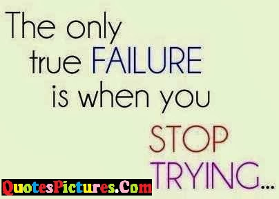 Failure Quote - The Only True Failure Is When You Stop Trying….
