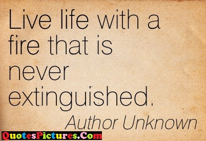Family Quote - Live Life With A Fire That Is Never Extinguished. - Author Unknown