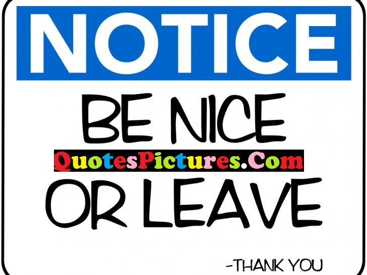 Fantastic Life Quote - Notice Be Nice Or Leave
