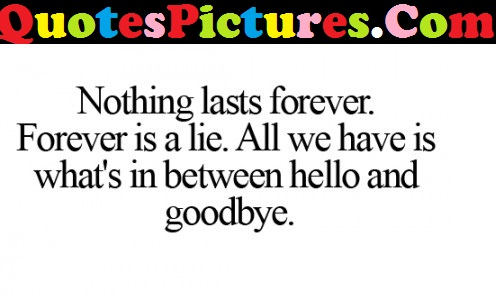 Good Life Quote - Nothing Last Forever