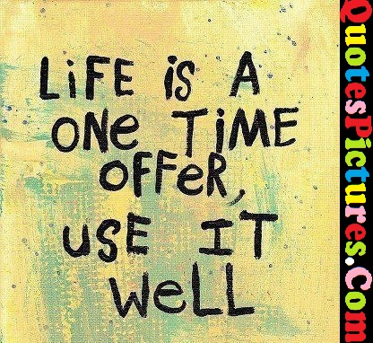 Gorgeous Life Quote - Life Is A One Time Offer