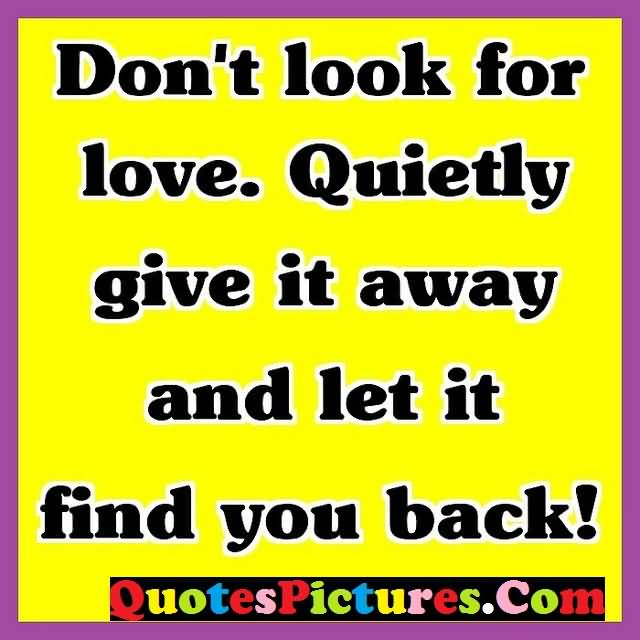 Gorgeous Love Quote - Do Not Look For Love