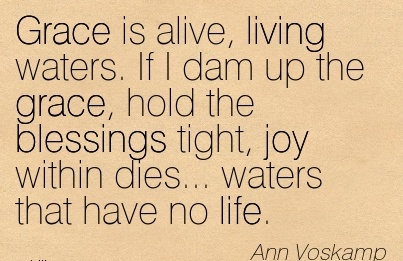 Grace is alive, living waters. If I dam up the grace, hold the blessings tight, joy within dies… waters that have no life.  - Ann Voskamp