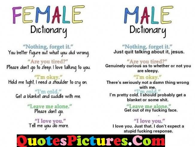 Great Love Quote - Female Dictionary And Male Dictionary